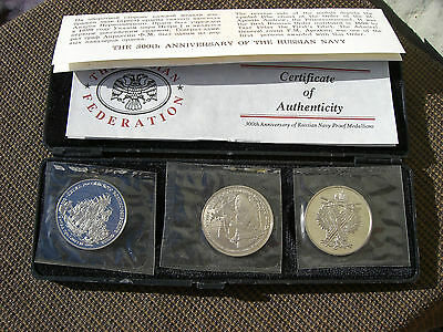 THE 300th ANNIVERSARY OF RUSSIAN NAVY PROOF COINS MEDALLIONS & CASE SET 2.