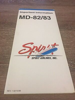 02/15/98 Spirit Airlines MD-82/83 Safety Card