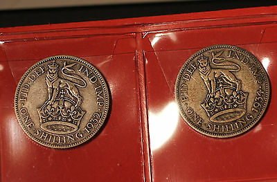 2x George V English Silver Shillings 1932 and 1934 Silver coins