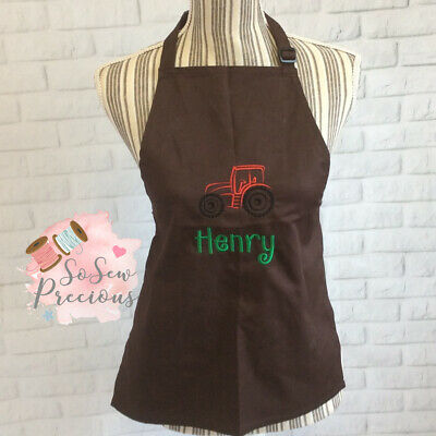 Personalised Embroidered Child's Apron, Any Colour, Tractor, Any Name, Unisex
