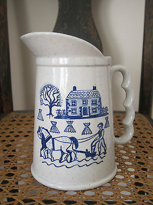 Vintage Blue and White Speckled Pitcher