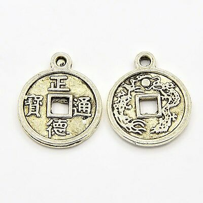 100 x Antique Silver  Alloy Metal Chinese Fortune Coins 15mm Dia  (A24558)