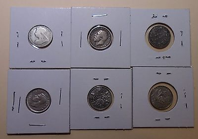 Great Britain - Lot of Six - 6 Pence Silver Coins