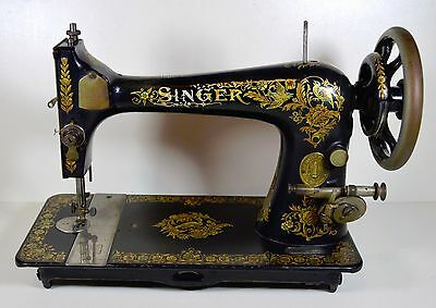 1902 Antique SINGER 'Pheasant' 27 Hand Crank Sewing Machine with Bullet Shuttle