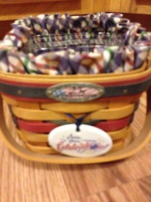 Longaberger 25th Anniversary Bee Basket 1998 w/ Liner, Protector & Tie on-EUC