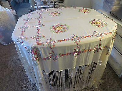 Stunning Vintage Hand Embroidered Piano Shawl