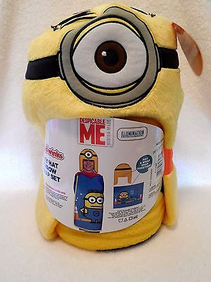 Hoodiwinks Minion Kids Cozy Hat And Throw Wrap Set Despicable Me