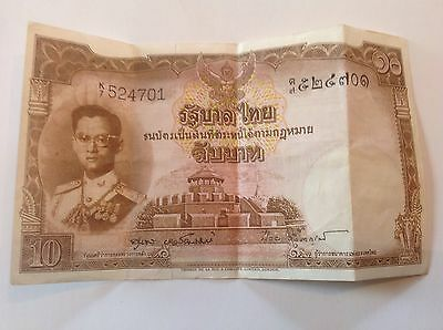 THAILAND 10 Bhat, King Rami, 1950s Bank Note