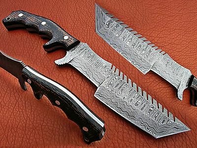 Custom Made Handmade Damascus Steel Hunting Tracker Knife With Leather Cover