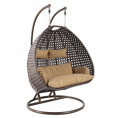 2 Person Wicker Swing Egg Chair Patio Hanging Furniture Outdoor Stand Hammock S