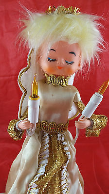 Vintage 1960's Christmas TREE TOPPER Blonde Haired Light up ANGEL