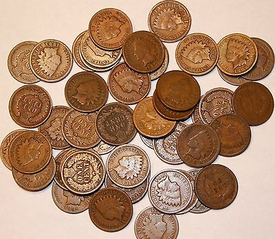 Roll (50 Coins) VG - Fine Indian Cents Pre-1900, Mixed Lot.    Item # EICL01