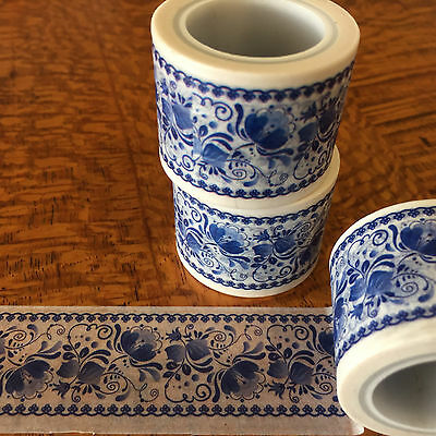 Washi Tape Wide Blue Delft 30Mm X 5Mtr Roll Scrap Plan Craft Wrap
