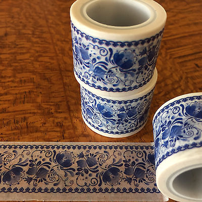 Washi Tape Wide Blue Delft 30Mm X 5Mtr Scrap Planner Craft Wrap Mail Art