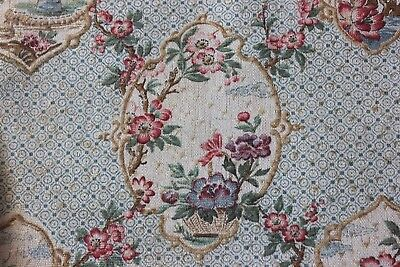 """Antique French C1878 Chinoiserie Printed Cotton Fabric Sample~L-19""""X W-31.5"""""""