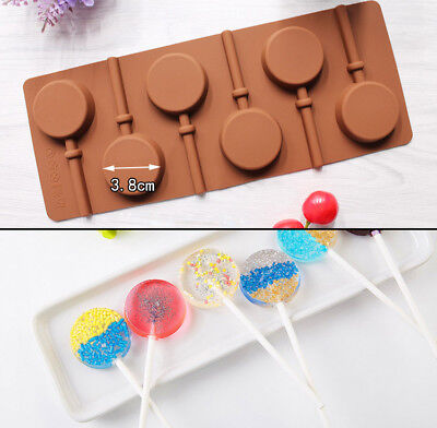 Silicone Round Lollipop Cake Chocolate Soap Pudding Jelly Candy Mold Bakeware