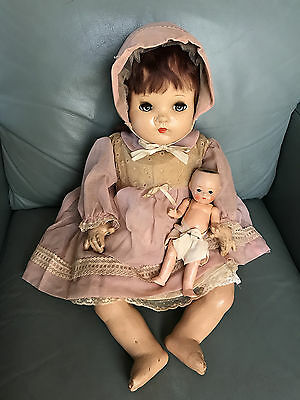 Antique Vintage Madame Alexander Composition Baby Doll with Small German Doll