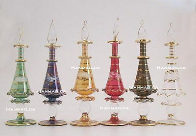 "Set of Six 6"" Egyptian Glass Art Perfume Bottles Handmade + 24K Gold Plated"