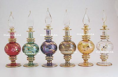 "Set of Six 6"" Egyptian Glass Perfume Bottles Handmade + 24K Gold Plated AA#1090"