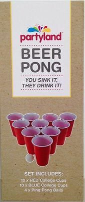 Beer Pong Portable Party Game Kit Red & Blue Set With 20 Cups + 4 Balls BPA Free