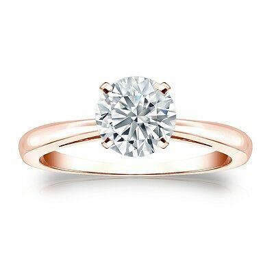 1.25 Ct Round Cut Solitaire Engagement Ring Solid in 14k Rose Gold