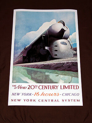 """New York Central 20th Century Limited Railroad Art print 24"""" Poster 1938 train"""