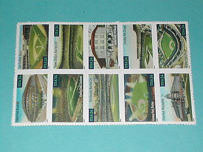 34 cent Baseball Playing Field Stamps (SC 3510-19) MNH