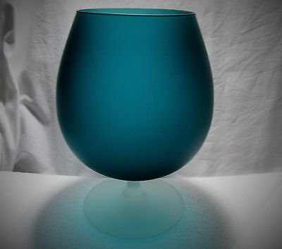 Satinato Glass Brandy Snifter Vase Carlo Moretti Italy Satin Turquoise Teal Blue
