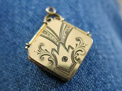 Victorian Locket Gold Filled with Simulate Stone by the B Co. [2537]