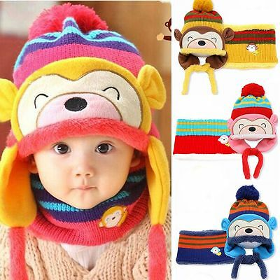 Hat Scarf  Set Boys Girls Toddler Hats Knitted Cotton Hats Warm Beanies Caps
