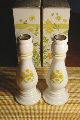 Avon Buttercup Candlesticks with Moonwind cologne 1974