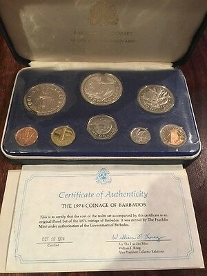 1974 Barbados Proof Set of 8 Coins with Case and COA