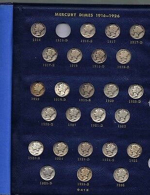 1916 - 1945 PDS MERCURY DIMES COMPLETE SET IN WHITMAN ALBUM only missing 1916 D