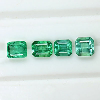3.40 Cts Natural Green Emerald Cut Loose Gemstone Octagon Lot Untreated Zambia $