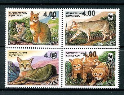 Tajikistan 2016 MNH Jungle Reed Cat WWF Surcharge OVPT 4v Block Wild Cats Stamps