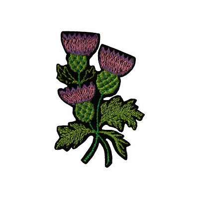 Embroidered Scottish Thistle Iron & Sew On Appliqué Patch On Black Felt