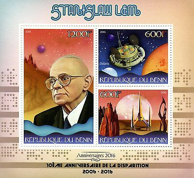 Benin 2016 MNH Stanislaw Lem 3v M/S Space Science Fiction Writers Stamps