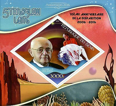 Benin 2016 MNH Stanislaw Lem 1v S/S Space Science Fiction Writers Stamps