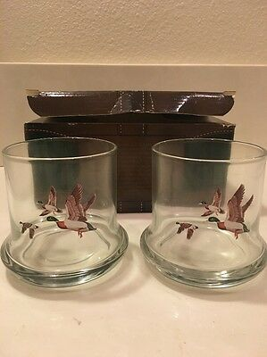 Vintage Avon Chesapeake Collection Mallard Duck Glasses Set of Two with Box Bird