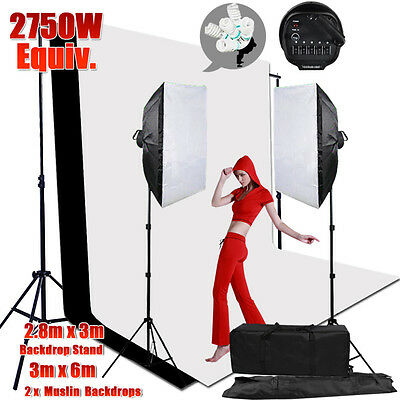 2750W Photo Softbox Studio Continuous Lighting 2 Backdrops Light Stand Case KiT