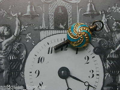 Pocket Watch Key Antique Carved Horse Head With Sapphires Eyes & Silver Fob Item