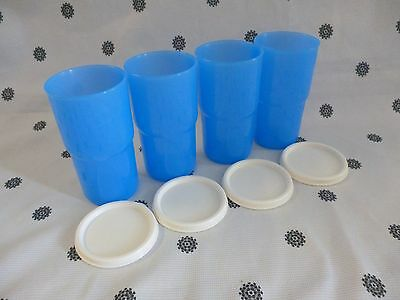 Tupperware  Tumblers Cups 350ml  Blue with White Seals Set of 4  New