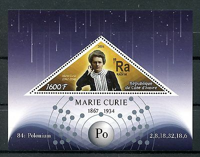 Ivory Coast 2016 MNH Marie Curie 1v S/S Physics Chemistry Science Stamps