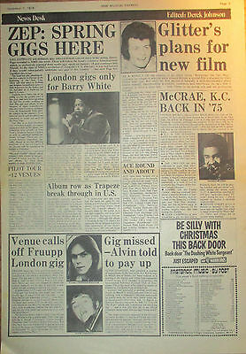 Led Zeppelin.Trapeze.George McCrae.Ace.Fruupp Poster Size Clipping NME 1974