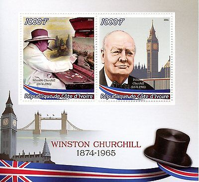 Ivory Coast 2016 MNH Winston Churchill 3v M/S Big Ben Tower Bridge Stamps