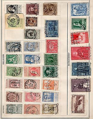 Belgium 2x pages of stamps (back to back) from an old album see scans x2