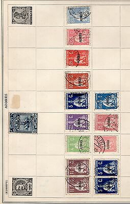 Portugal group of stamps from an old album annotated AZORES