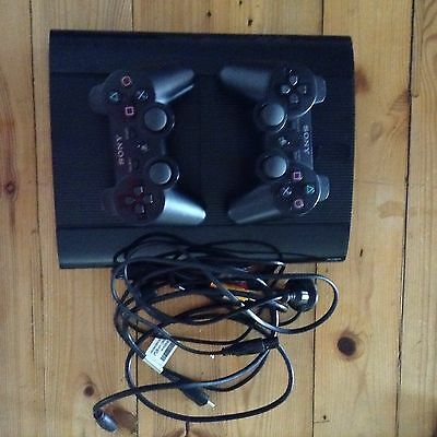 Sony Playstation 3 (2013) Black 500GB Super Slim With 2 controllers. and 5 games