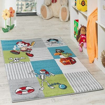Kids Rug Carpet Pirates Blue Childrens Bedroom Play Fun Mat Small Large Rugs NEW