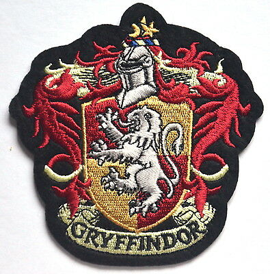 Harry Potter Gryffindor Hogwart School Crest Embroidered Sew Iron On Patch Badge